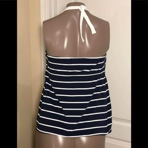 Pez D'Or Swim - Pez D'Or Marine Striped Keyhole Maternity Tankini